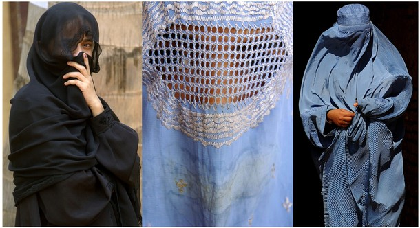 This combination picture created from AFP file images on June 19, 2009 shows Muslim women wearing a Niqab (L) and Burqa's (C and R) in India (L) and Afghanistan (C and R). The French government was split on June 19, 2009 over whether a law should be enacted to restrict the wearing of the full Islamic veil by Muslim women in Europe's most staunchly secular country. A group of lawmakers is calling for a special inquiry into whether women who wear the burka or the niqab undermine French secularism and women's rights. The government's spokesman welcomed the proposal for a parliamentary commission that could lead to legislation, but Immigration Minister Eric Besson warned a law would stir tensions in France, home to some five million Muslims. AFP PHOTO (Photo credit should read -/AFP/Getty Images)